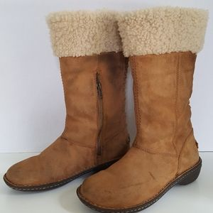 UGG Tan Leather Fur Long Boots W/ Size Zips Size:7